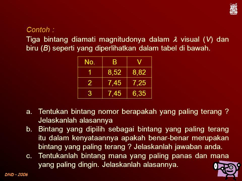 Contoh : Tiga bintang diamati magnitudonya dalam  visual (V) dan biru (B) seperti yang diperlihatkan dalam tabel di bawah.