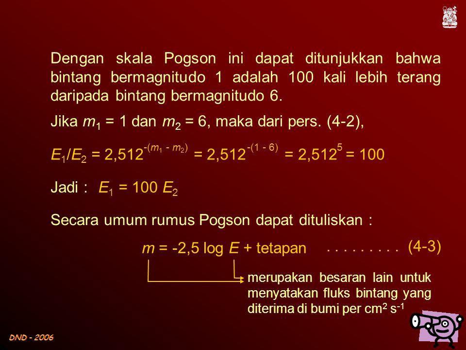 Jika m1 = 1 dan m2 = 6, maka dari pers. (4-2),