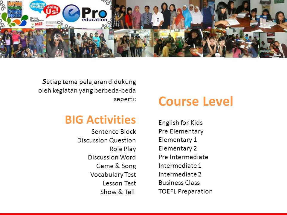 Course Level BIG Activities