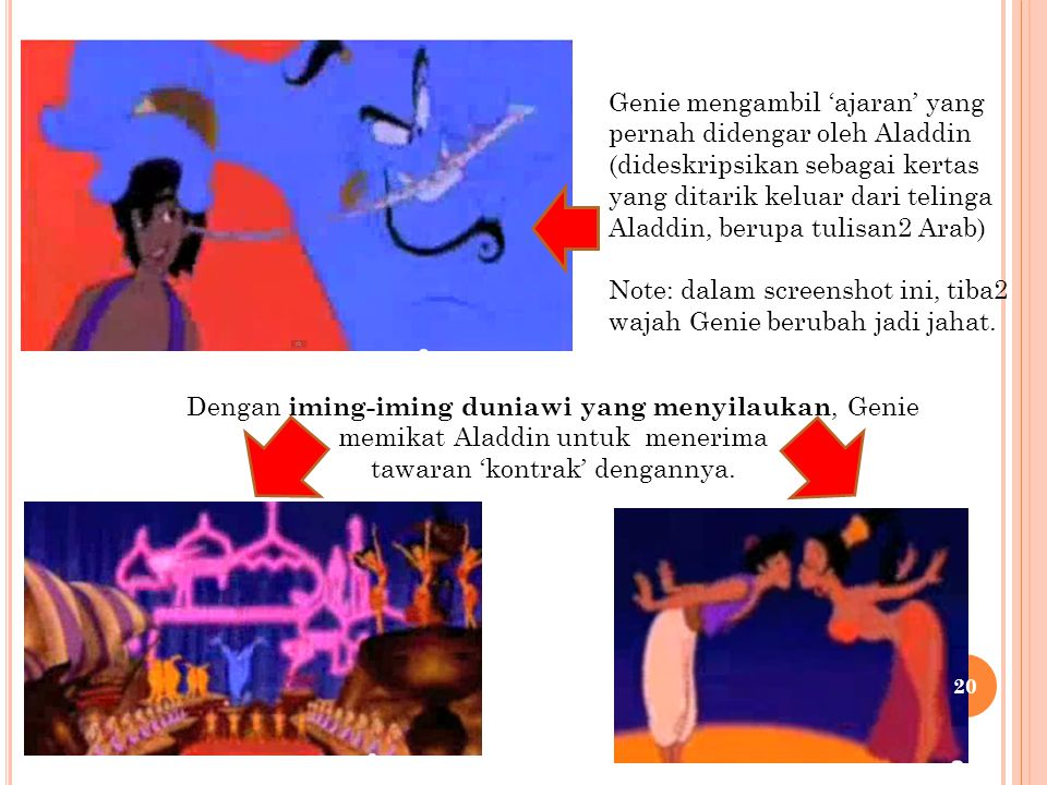Genie mengambil 'ajaran' yang pernah didengar oleh Aladdin