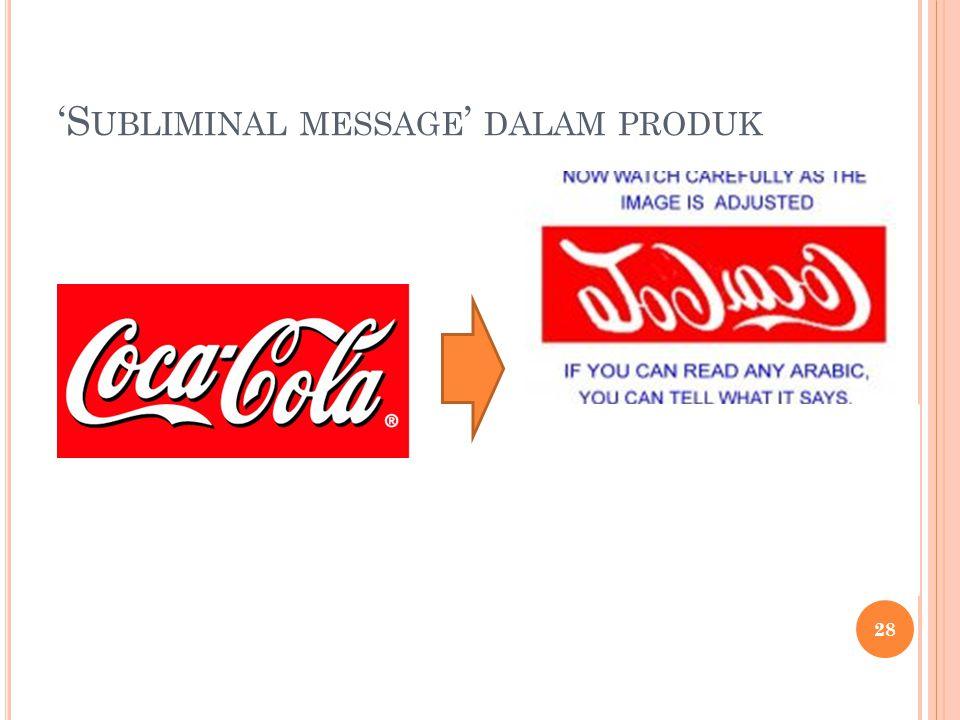 'Subliminal message' dalam produk