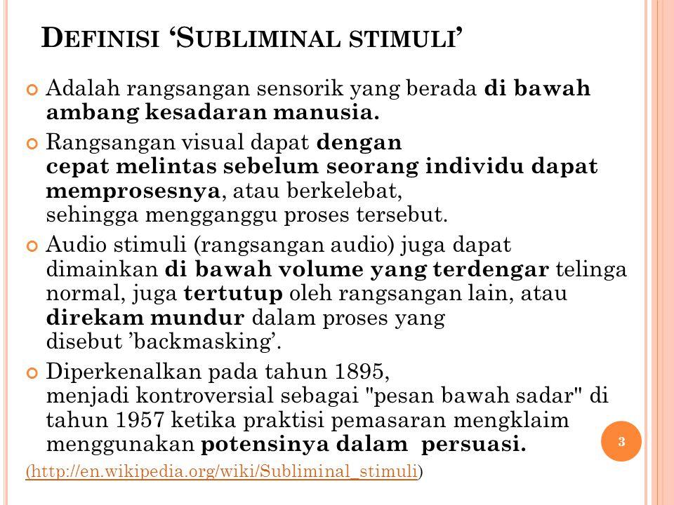 Definisi 'Subliminal stimuli'