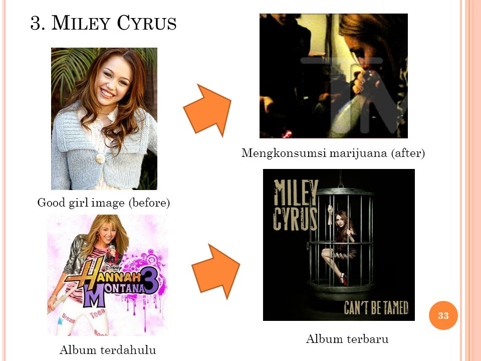 3. Miley Cyrus Mengkonsumsi marijuana (after) Good girl image (before)