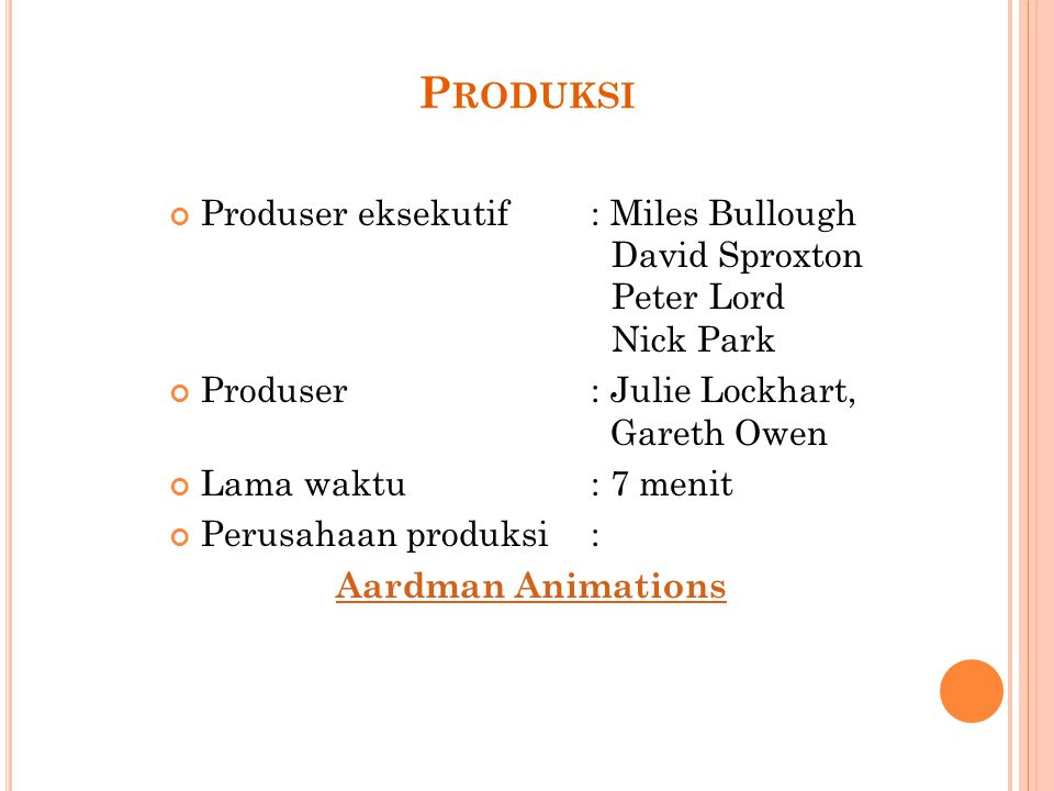 Produksi Produser eksekutif : Miles Bullough David Sproxton Peter Lord Nick Park.