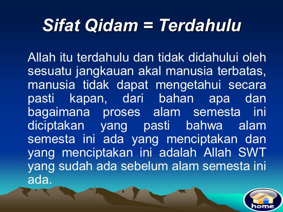 Sifat Qidam = Terdahulu