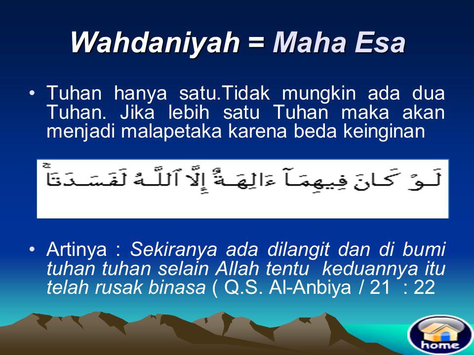 Wahdaniyah = Maha Esa Tuhan hanya satu.Tidak mungkin ada dua Tuhan. Jika lebih satu Tuhan maka akan menjadi malapetaka karena beda keinginan.