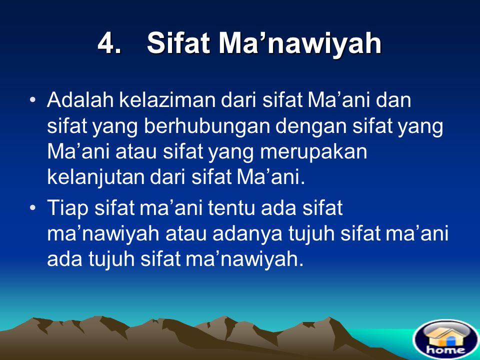 4. Sifat Ma'nawiyah