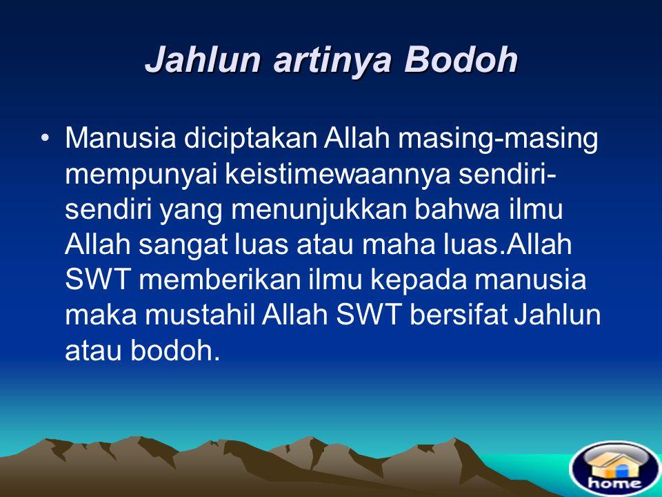 Jahlun artinya Bodoh