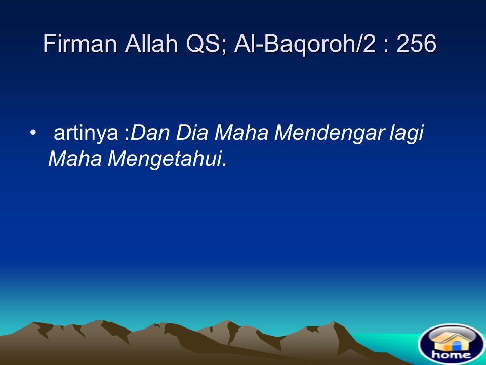 Firman Allah QS; Al-Baqoroh/2 : 256