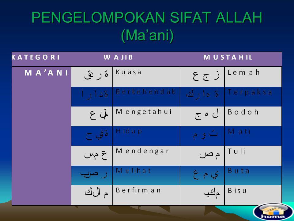 PENGELOMPOKAN SIFAT ALLAH (Ma'ani)