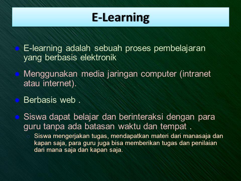 E-Learning E-learning adalah sebuah proses pembelajaran yang berbasis elektronik. Menggunakan media jaringan computer (intranet atau internet).