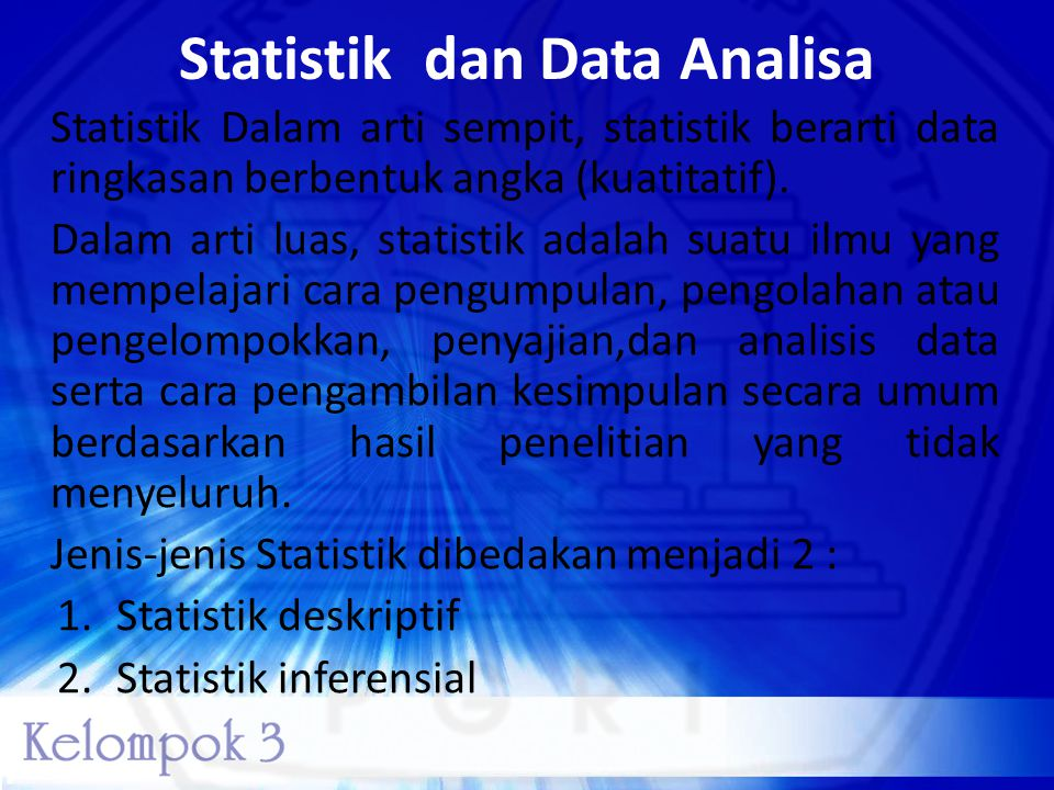 Statistik dan Data Analisa