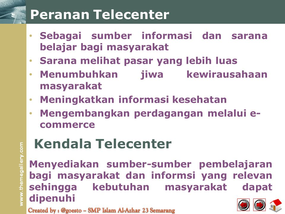 Peranan Telecenter Kendala Telecenter