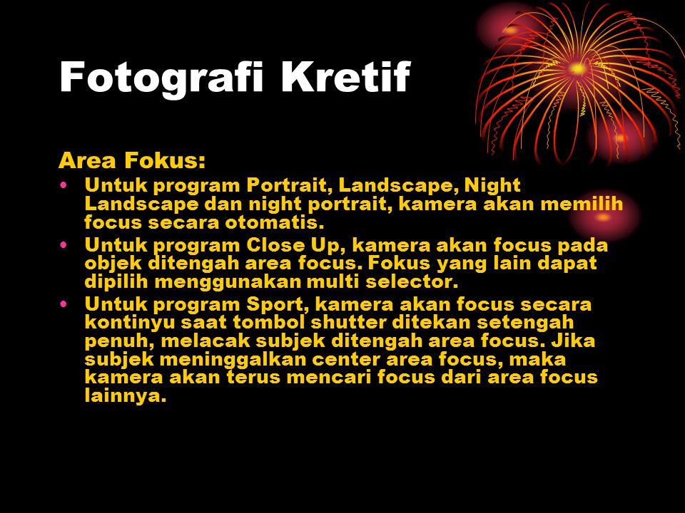 Fotografi Kretif Area Fokus: