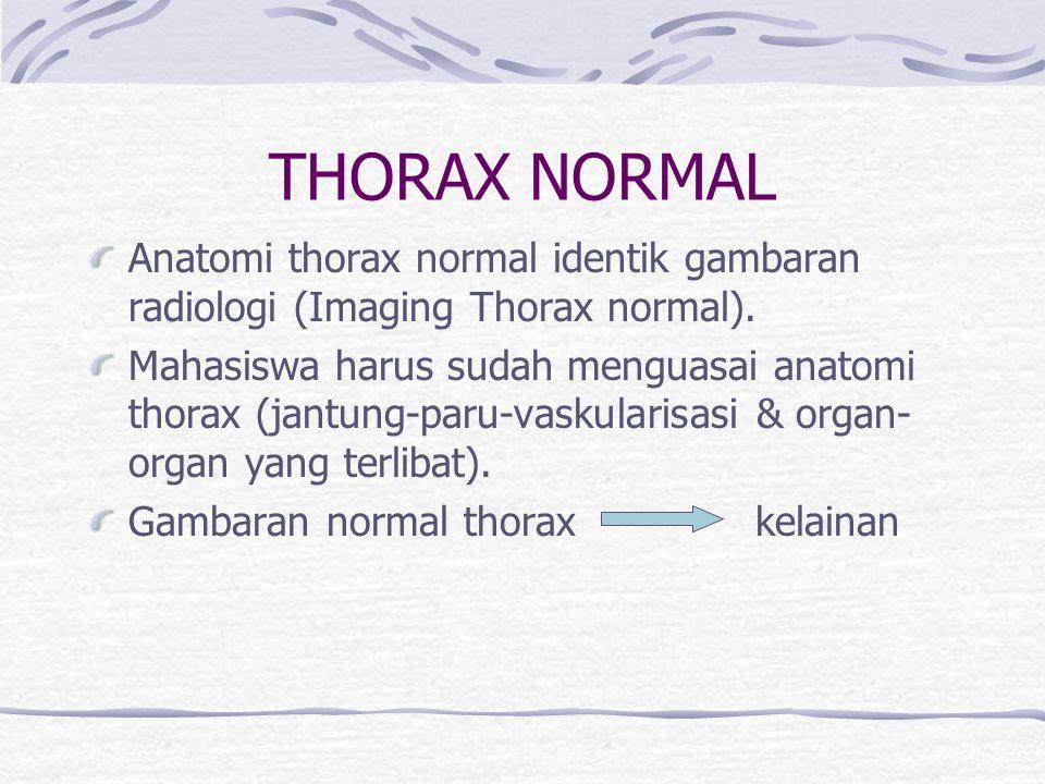 THORAX NORMAL Anatomi thorax normal identik gambaran radiologi (Imaging Thorax normal).