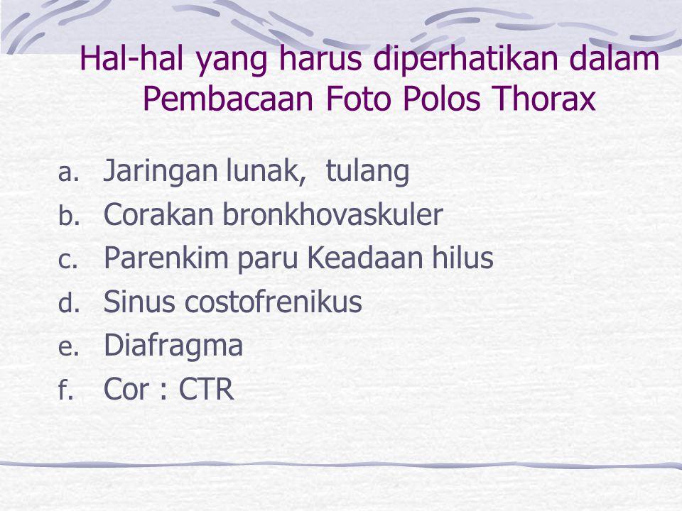 Hal-hal yang harus diperhatikan dalam Pembacaan Foto Polos Thorax