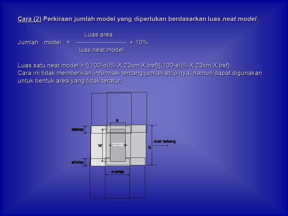 Cara (2) Perkiraan jumlah model yang diperlukan berdasarkan luas neat model.