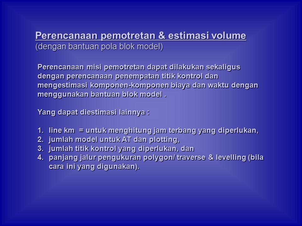 Perencanaan pemotretan & estimasi volume (dengan bantuan pola blok model)