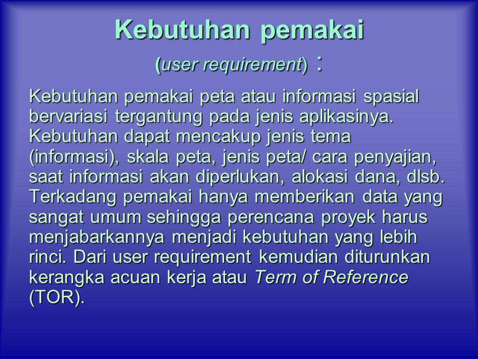 Kebutuhan pemakai (user requirement) :