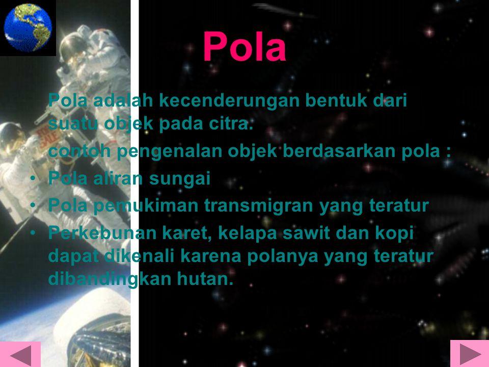 Pola Pola adalah kecenderungan bentuk dari suatu objek pada citra.