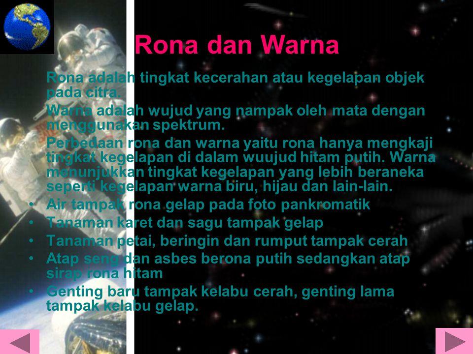 Rona dan Warna Rona adalah tingkat kecerahan atau kegelapan objek pada citra. Warna adalah wujud yang nampak oleh mata dengan menggunakan spektrum.