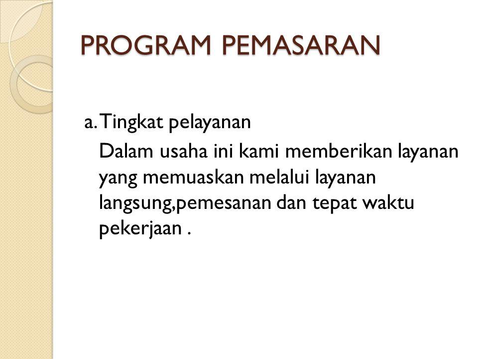 PROGRAM PEMASARAN a. Tingkat pelayanan
