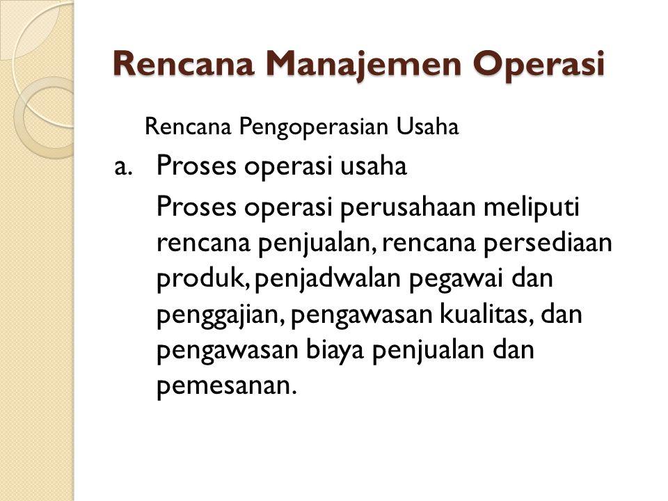 Rencana Manajemen Operasi