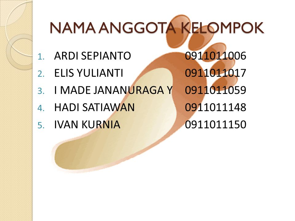 NAMA ANGGOTA KELOMPOK ARDI SEPIANTO 0911011006
