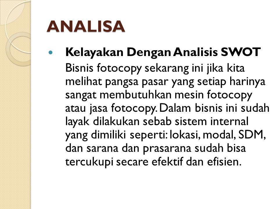 ANALISA Kelayakan Dengan Analisis SWOT
