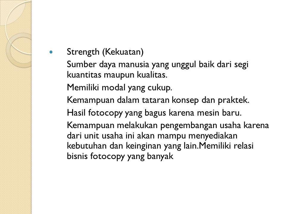 Strength (Kekuatan) Sumber daya manusia yang unggul baik dari segi kuantitas maupun kualitas. Memiliki modal yang cukup.