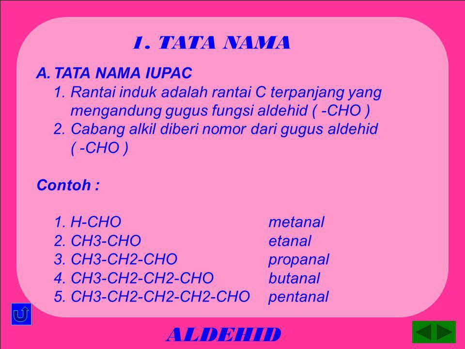 ALDEHID 1. TATA NAMA TATA NAMA IUPAC