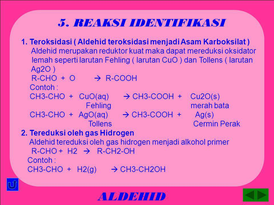 ALDEHID 5. REAKSI IDENTIFIKASI