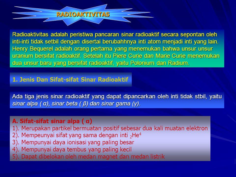 RADIOAKTIVITAS Radioaktivitas adalah peristiwa pancaran sinar radioaktif secara sepontan oleh.