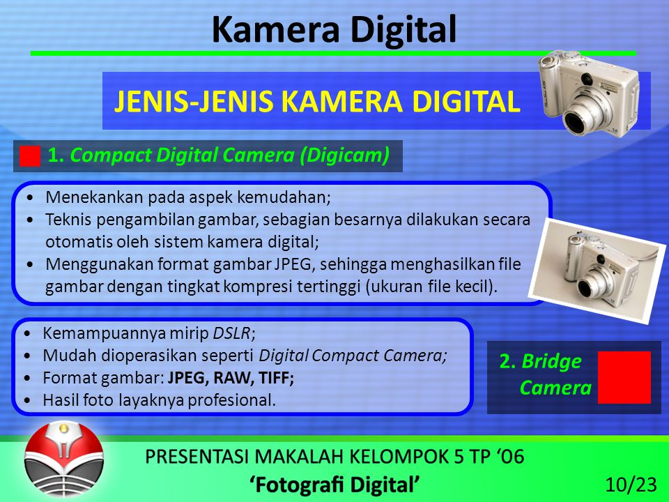 Kamera Digital JENIS-JENIS KAMERA DIGITAL