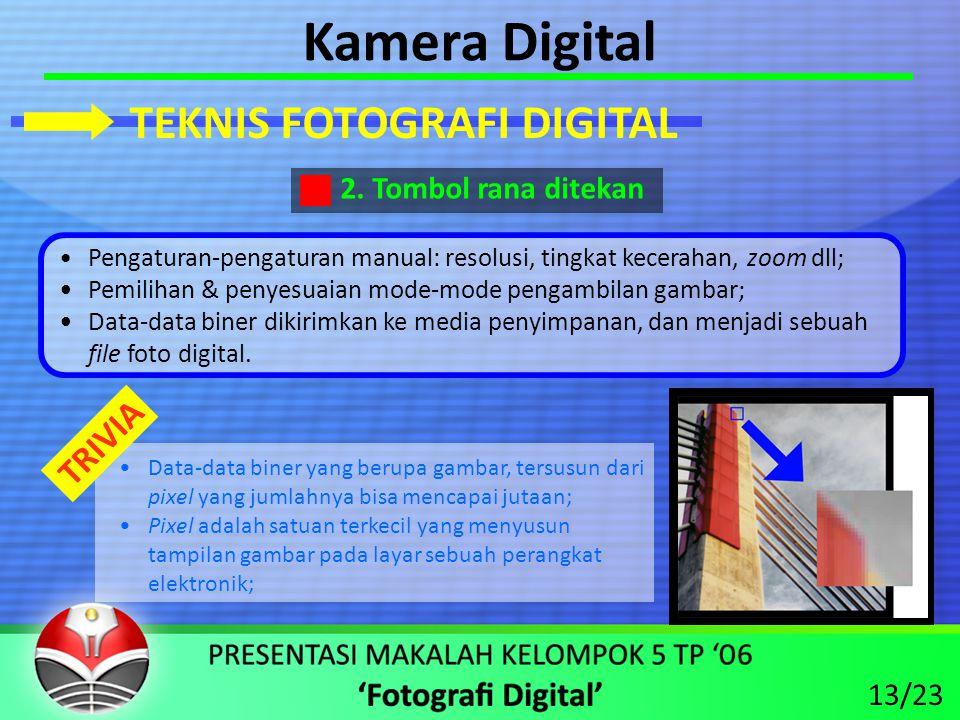 Kamera Digital TEKNIS FOTOGRAFI DIGITAL TRIVIA 2. Tombol rana ditekan