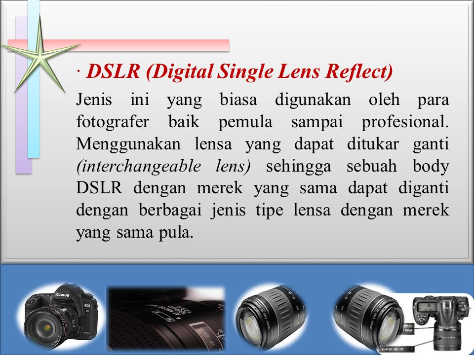 · DSLR (Digital Single Lens Reflect)