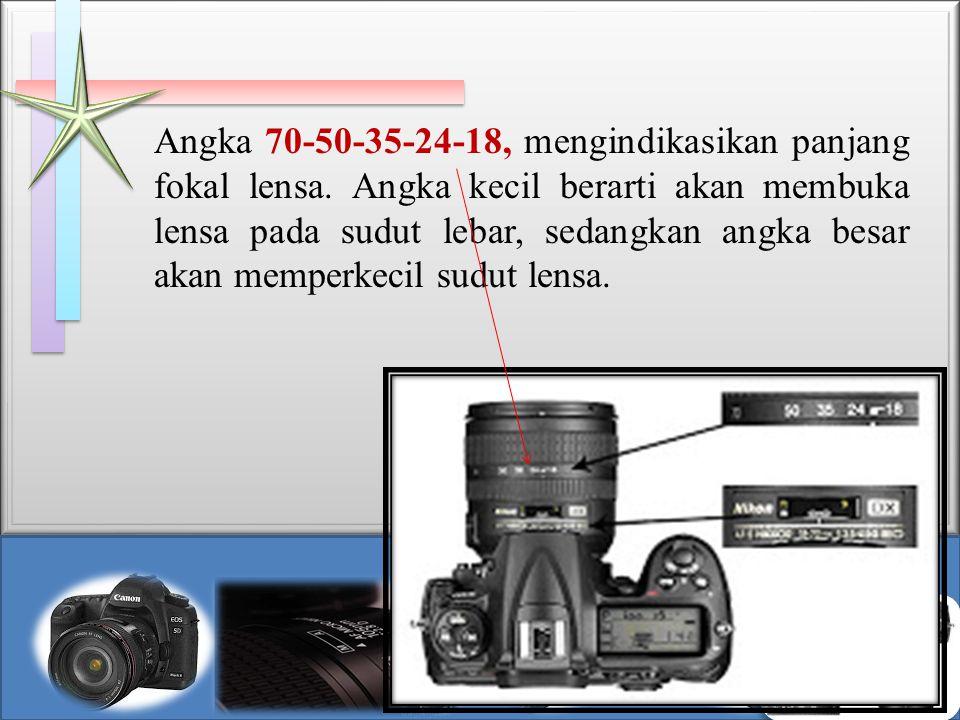 Angka 70-50-35-24-18, mengindikasikan panjang fokal lensa