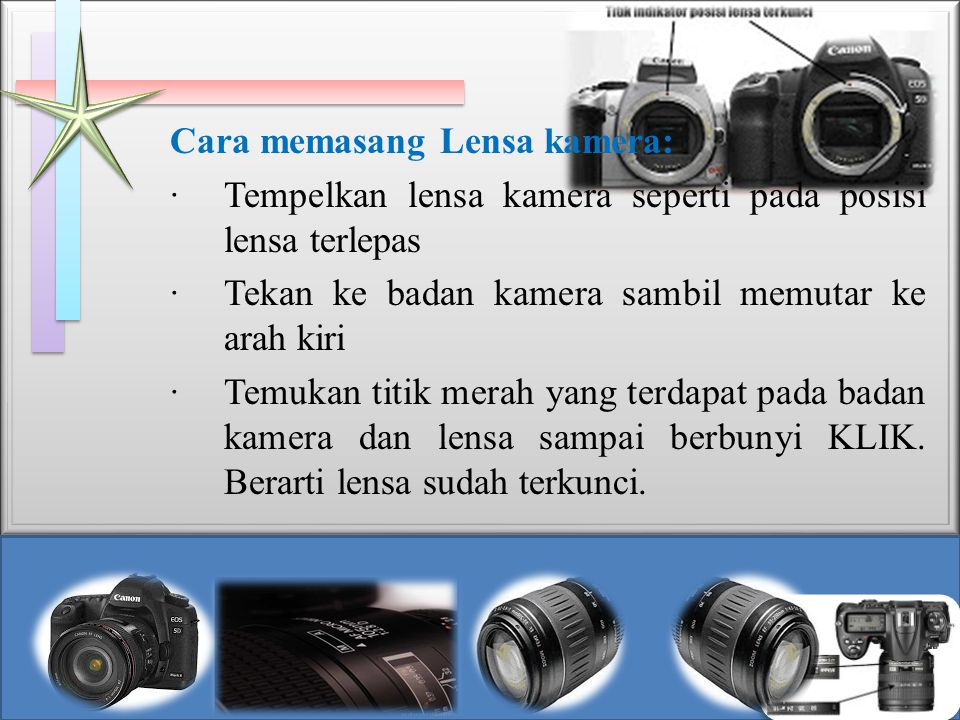 Cara memasang Lensa kamera: