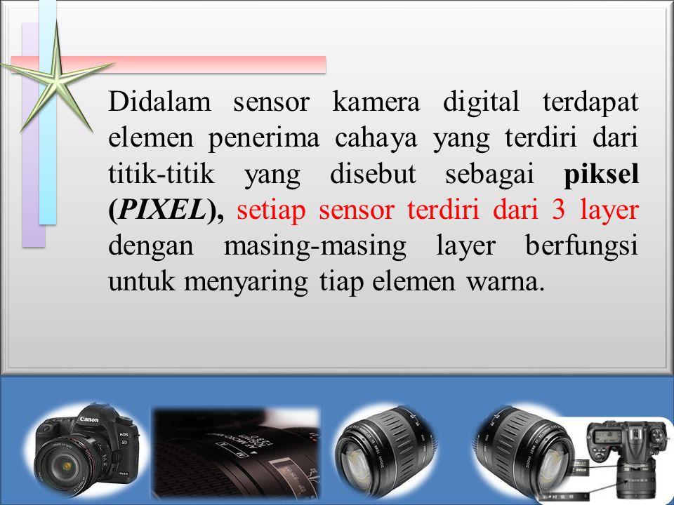 Didalam sensor kamera digital terdapat elemen penerima cahaya yang terdiri dari titik-titik yang disebut sebagai piksel (PIXEL), setiap sensor terdiri dari 3 layer dengan masing-masing layer berfungsi untuk menyaring tiap elemen warna.