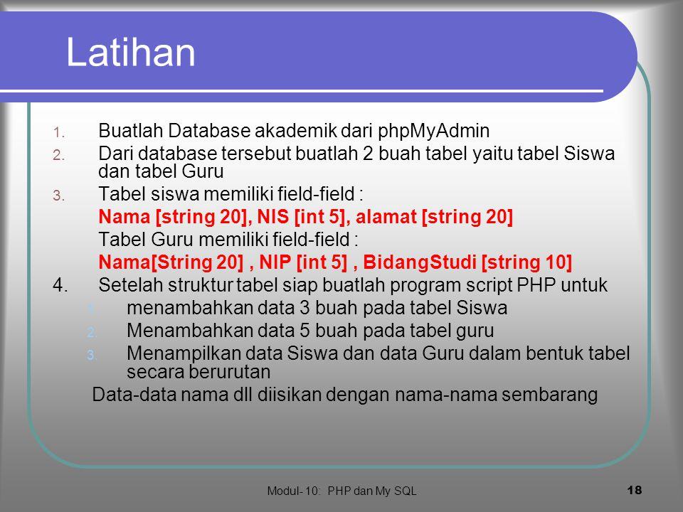 Latihan Buatlah Database akademik dari phpMyAdmin