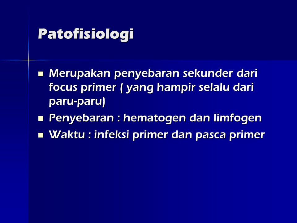 Patofisiologi Merupakan penyebaran sekunder dari focus primer ( yang hampir selalu dari paru-paru) Penyebaran : hematogen dan limfogen.