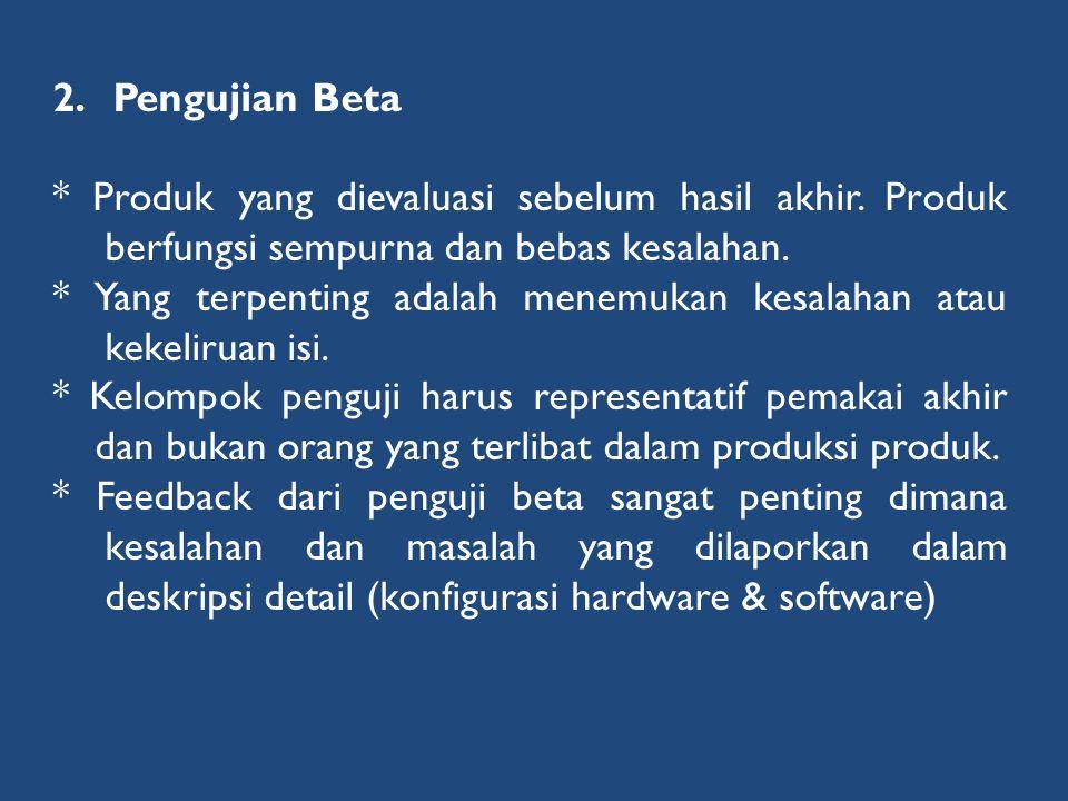 Pengujian Beta * Produk yang dievaluasi sebelum hasil akhir. Produk berfungsi sempurna dan bebas kesalahan.