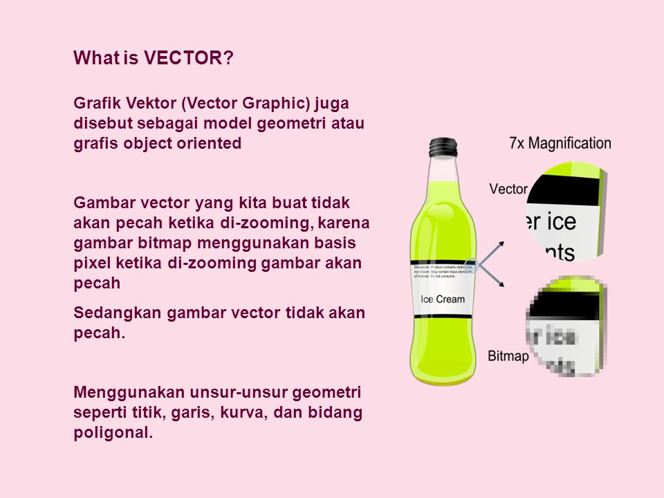 What is VECTOR Grafik Vektor (Vector Graphic) juga disebut sebagai model geometri atau grafis object oriented.