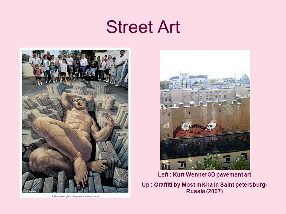 Street Art Left : Kurt Wenner 3D pavement art