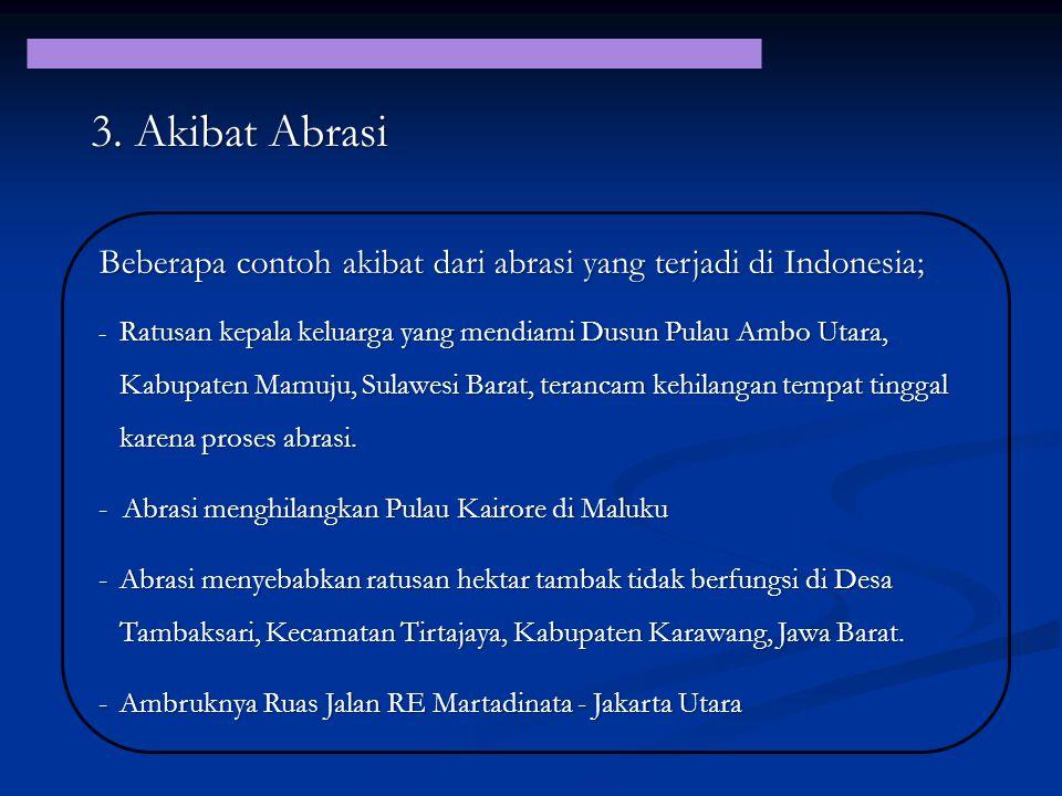 3. Akibat Abrasi Beberapa contoh akibat dari abrasi yang terjadi di Indonesia;