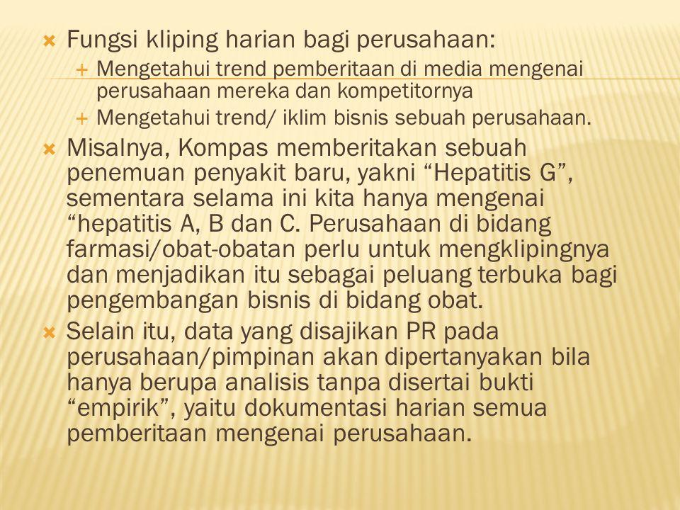 Fungsi kliping harian bagi perusahaan: