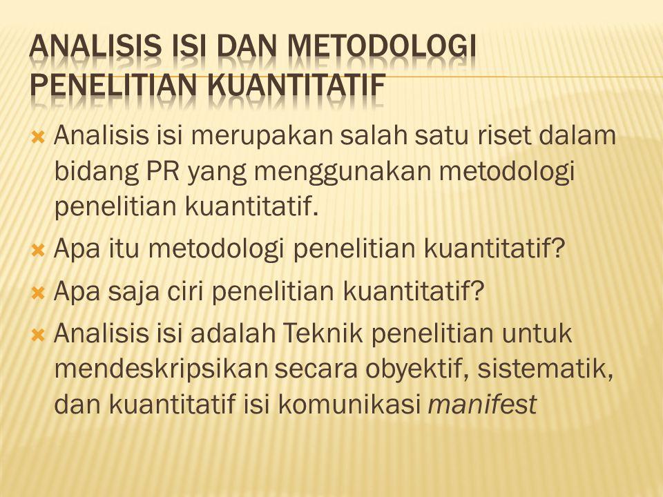 Analisis isi dan metodologi penelitian kuantitatif