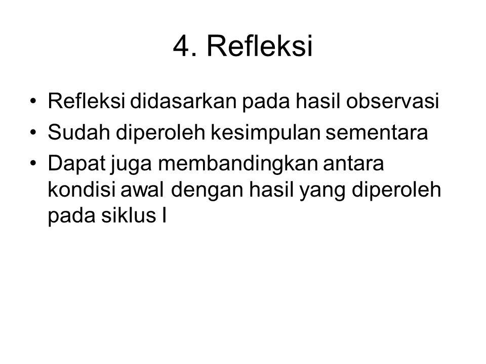 4. Refleksi Refleksi didasarkan pada hasil observasi