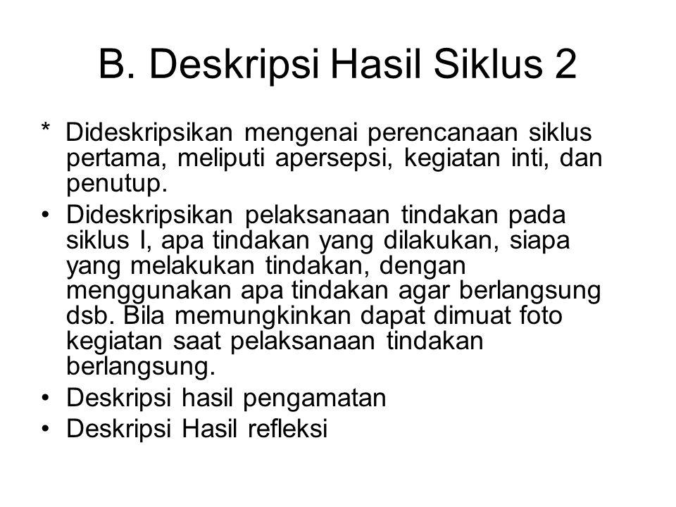 B. Deskripsi Hasil Siklus 2