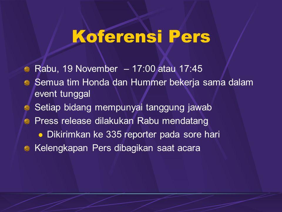 Koferensi Pers Rabu, 19 November – 17:00 atau 17:45